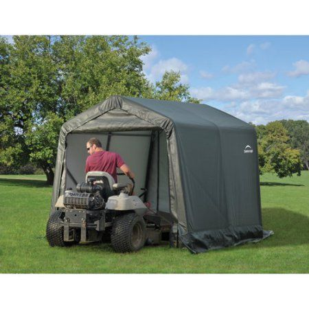 Peak Style Shelter, 8'x12'x8', Green Cover | Lawn mower ...