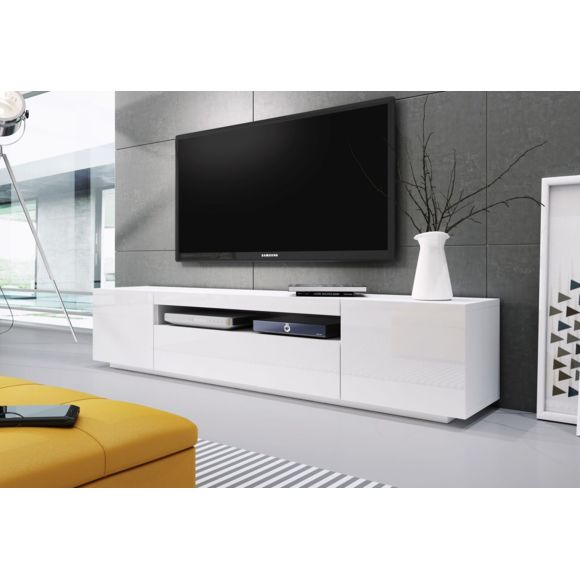 Banc Tv Blanc Laque 2m00 Ref Kimi Banc Tv Blanc Meuble Tv