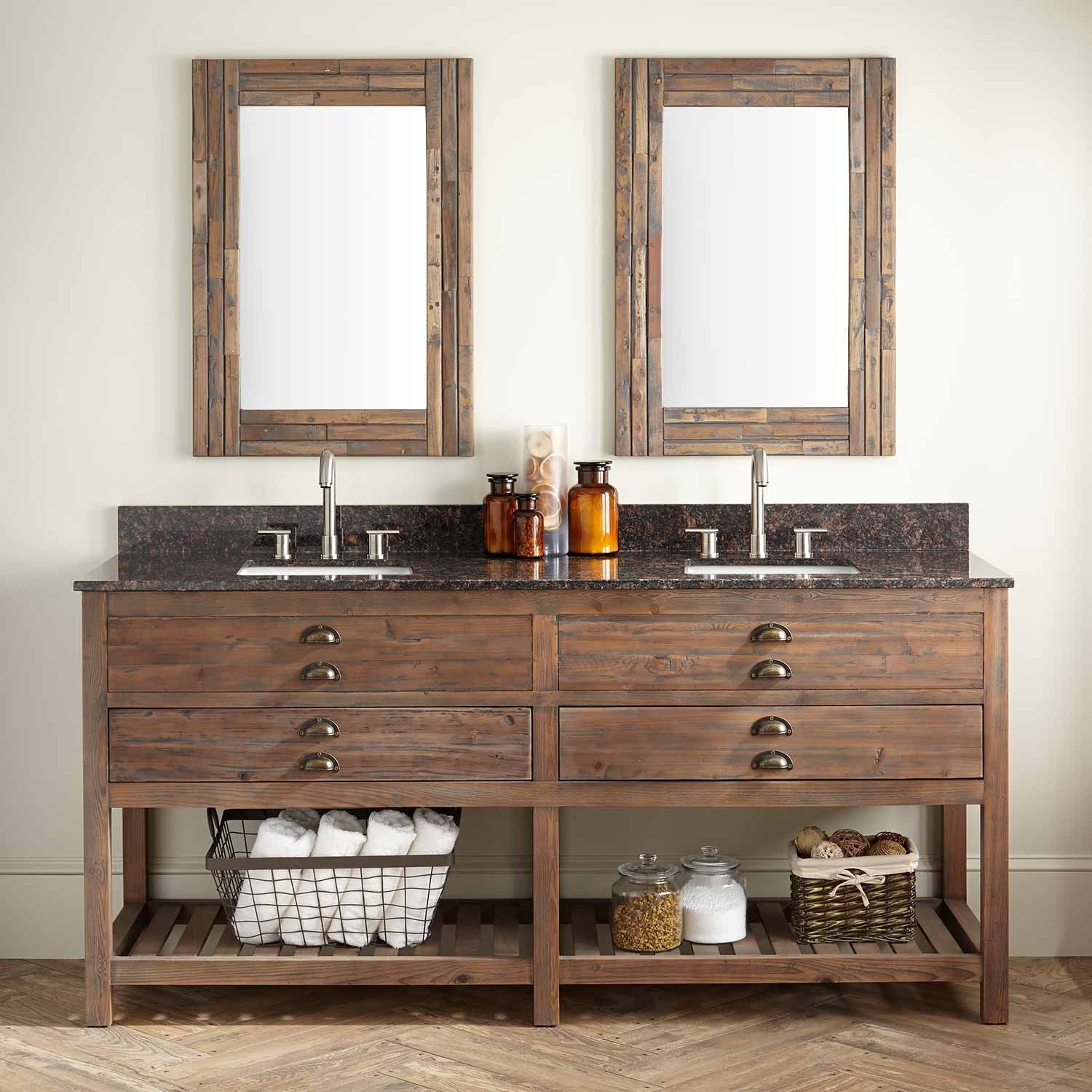 Gallery For Photographers  Benoist Reclaimed Wood Double Vanity for Rectangular Undermount Sink Gray Wash Pine