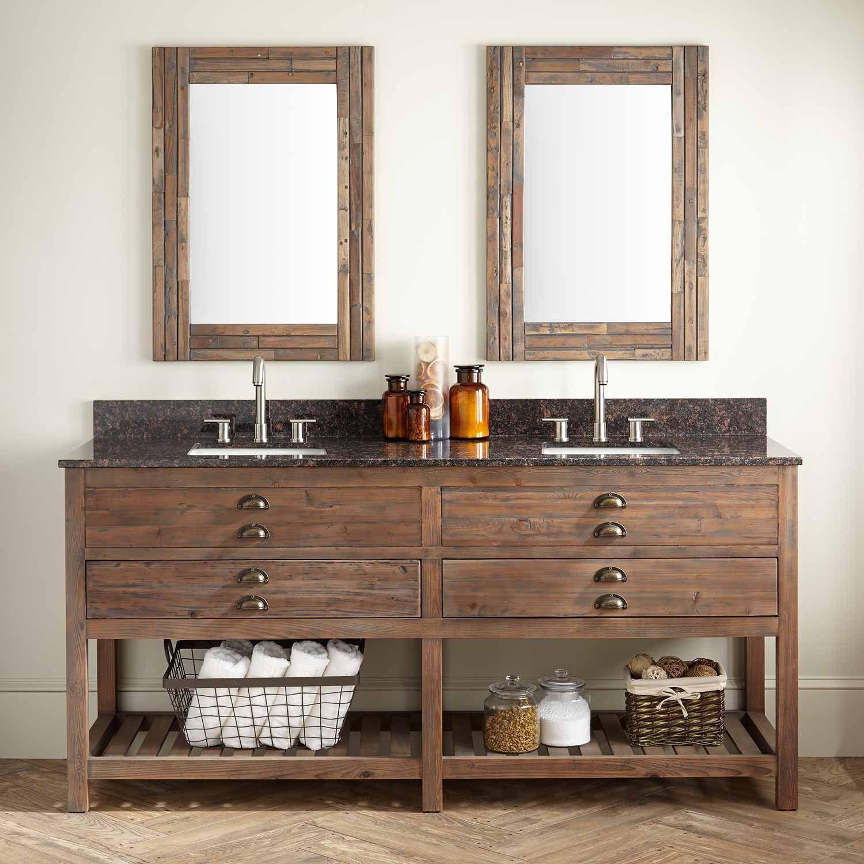 72 Benoist Reclaimed Wood Double Vanity For Rectangular