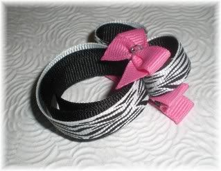 """4.5/"""" DISNEY MINNIE MOUSE Stacked Boutique Hair Bow Bottlecap PINK BLACK ZEBRA"""