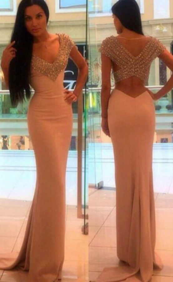 Charming Tight Long V-neck Prom Party Dresses Beades Evening Gowns ...