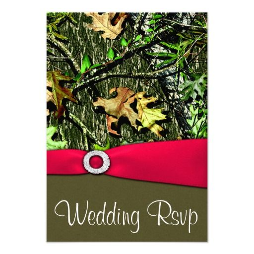 Classy Hot Pink Hunting Camo Wedding RSVP Cards