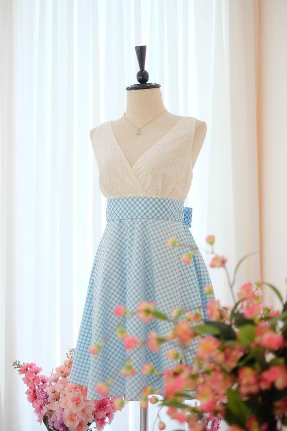 c0bbbf8809e4 Blue dress Bridesmaid dress Plaid check dress Vintage dress Country dress  Hippie dress Summer dress