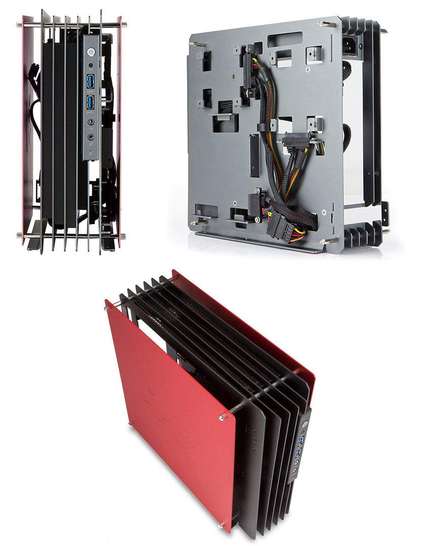 In Win H-Frame Mini ITX Aluminium Case Red [IW-HFRAME-MINI-RD ...