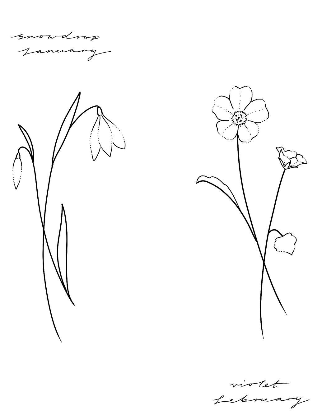 Birth Flower Flash January Snowdrop February Violet March Daffodil April Swee Tatuaje Violeta Tatuaje De Flor Delicada Tatuajes De La Flor De Violeta
