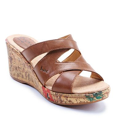 Look what I found on #zulily! Brown Aundrea Leather Wedge Sandal by b.o.c #zulilyfinds