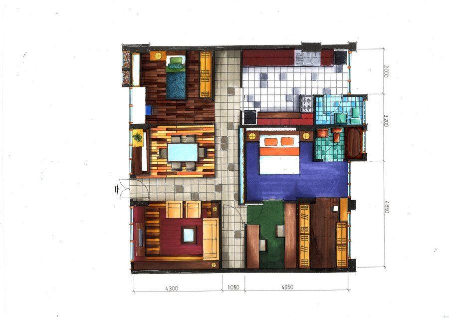 Floor Plan Rendering In Markers By Ray Agustindeviantart On DeviantART