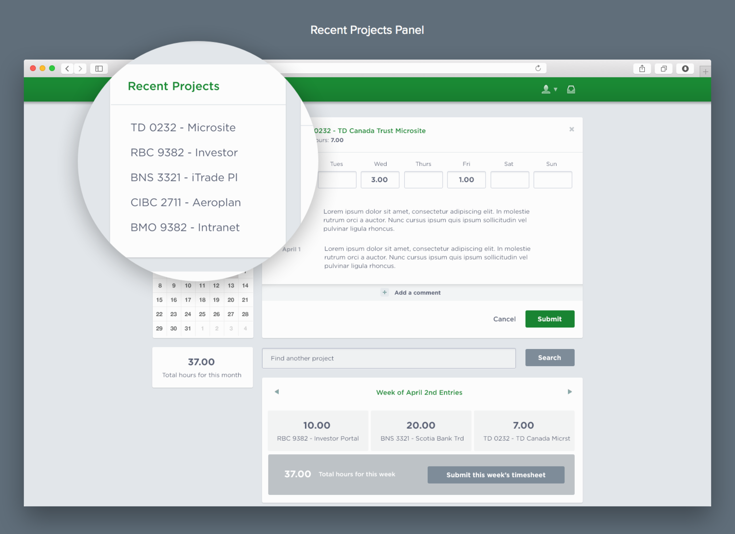 Timesheet App  Recent Project Panel Ui Ux Design  Portfolio