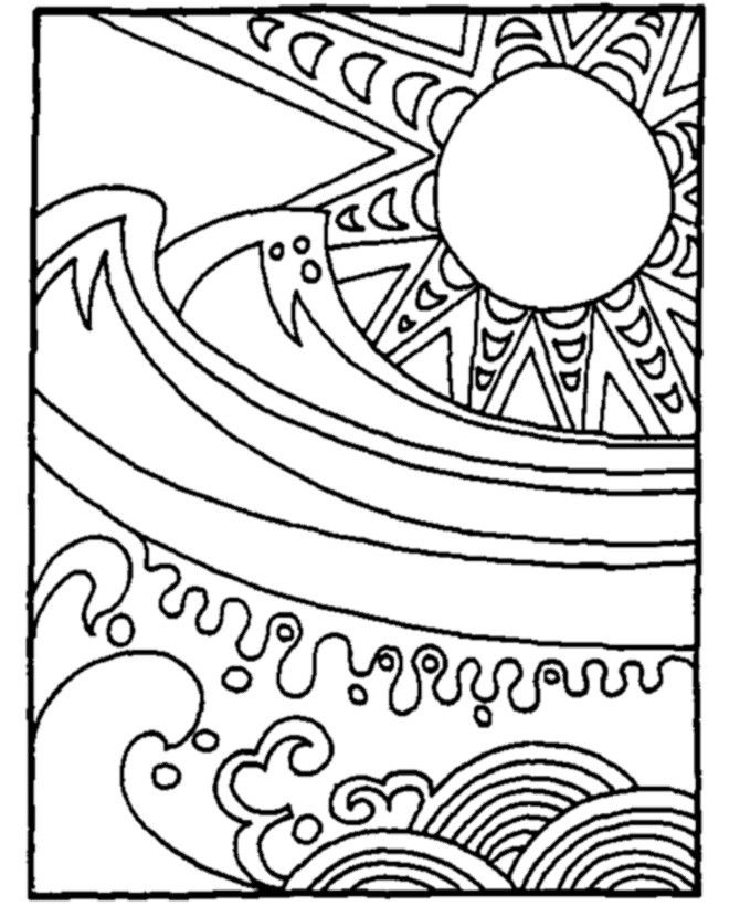 Waves in the sun coloring page for kids free printable picture