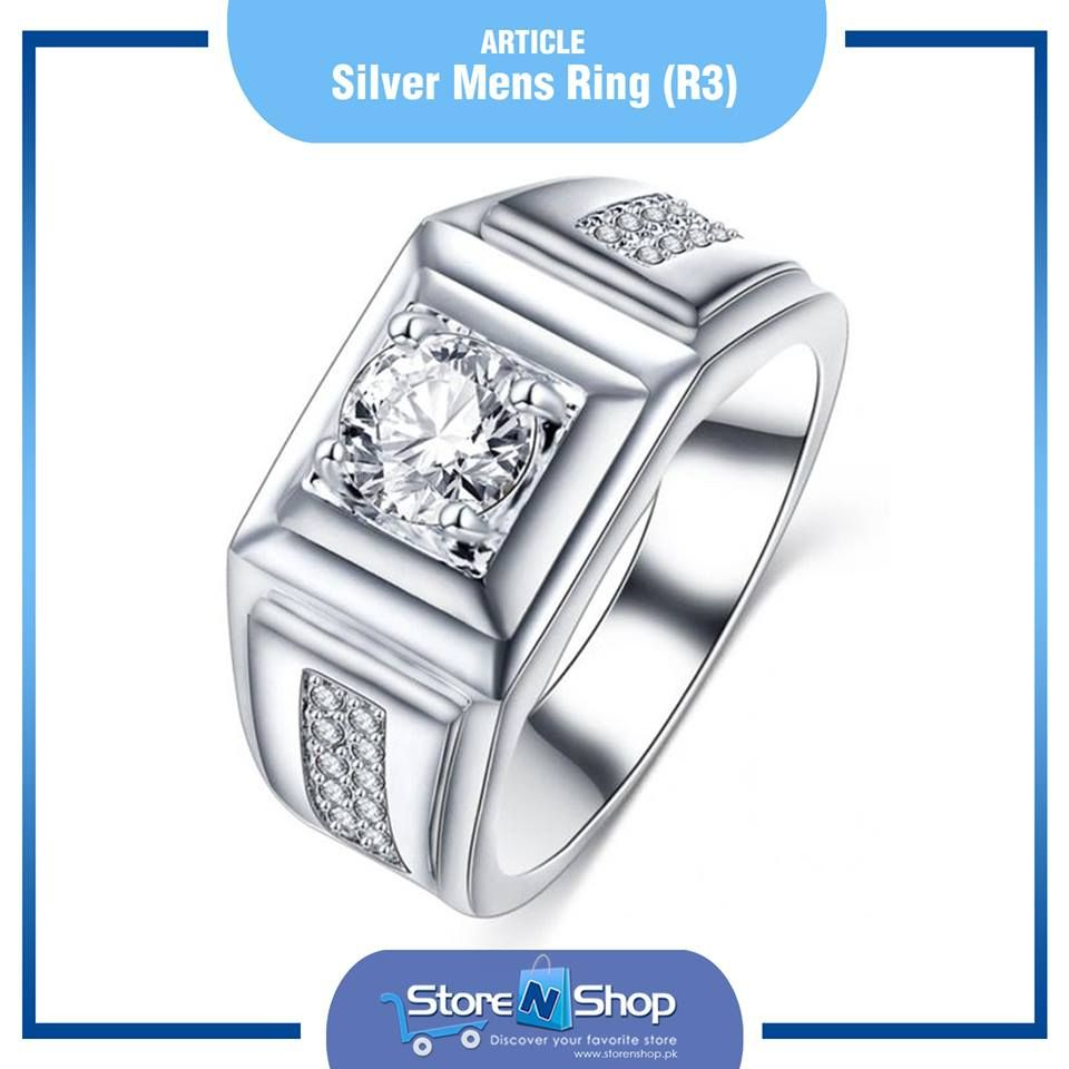 Silver Stones Zircon Silver Plated Men Rings High Quality