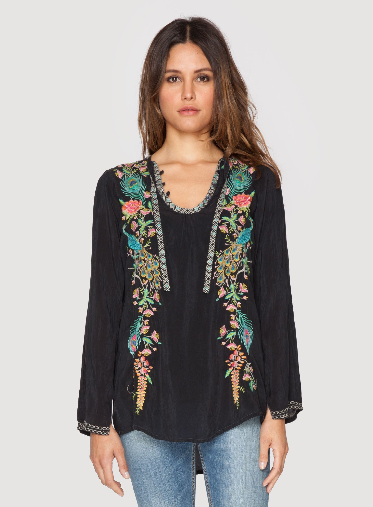 Adorned by a stunning embroidery design that combines peacock, floral, and  Art Deco-inspired motifs, this embroidered tunic top will have you ...