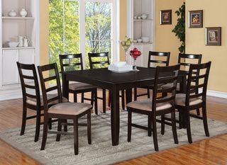 9PC Square Dinette Dining Table 8 Upholstered Seat Ladder Back Chairs In  Cappuccino For Formal Dining