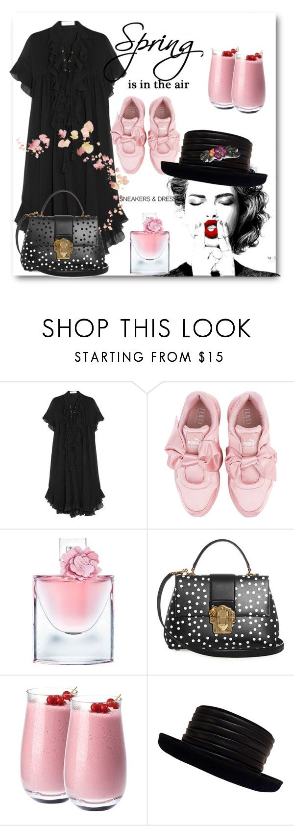 """""""Sneakers and dresses"""" by amaiba ❤ liked on Polyvore featuring Chloé, Puma, Lancôme, Dolce&Gabbana, Denby, Kokin and 1928"""