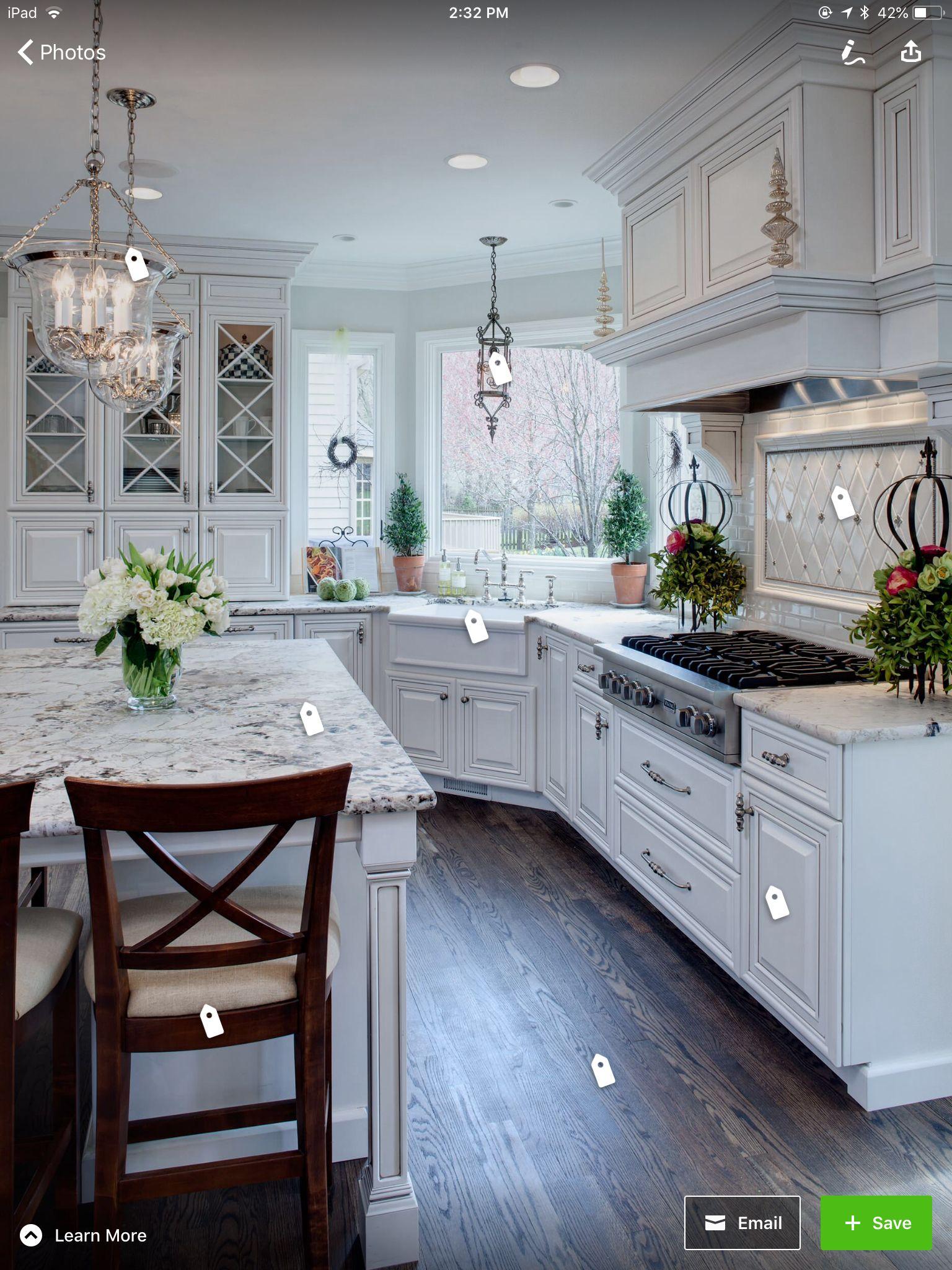 Honed Snow White Granite   White kitchen design, Elegant white ...