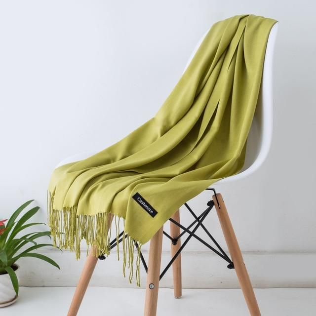 fcea2cea018a6 Women solid color cashmere scarves with tassel lady spring and winter thin  scarf high quality female