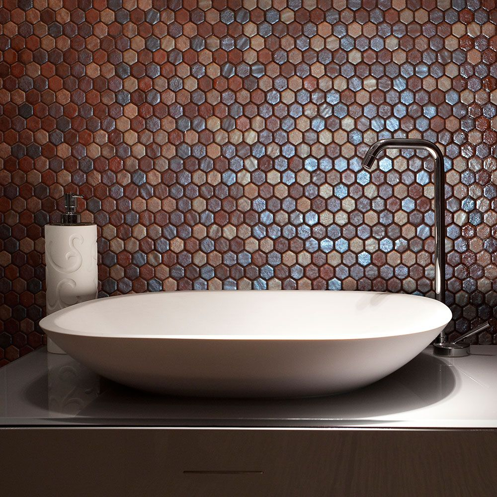Stunning Pizzazz Hexagon Mosaic Tiles used for a bathroom splashback ...