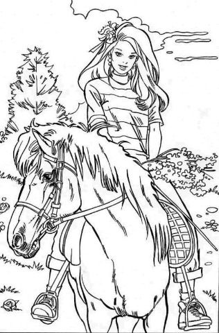 barbie with horse barbie coloring pages
