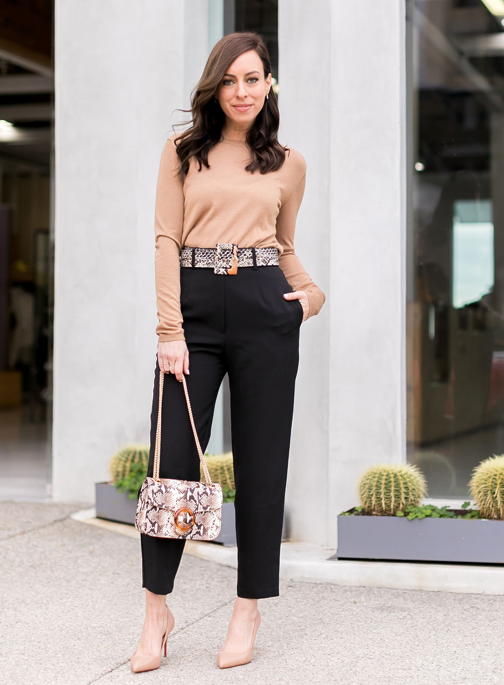 3f3e0c92dcb Sydne Style shows classic outfit ideas for the office in black pants and tan  sweater  classic  python  snakeskin  louboutin  sydnesummer