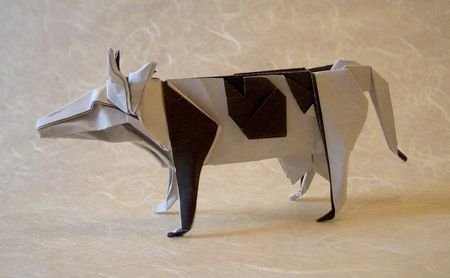 Easy Origami Cow Instructions - DIY How To make an Origami Cow ... | 278x450