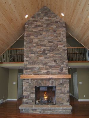 Custom Large Stone Fireplace With Propane Insert By