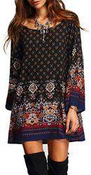 Risesun Women's Bohemian Vintage Printed Ethnic Style Loose Casual Tunic Dress - $17.99