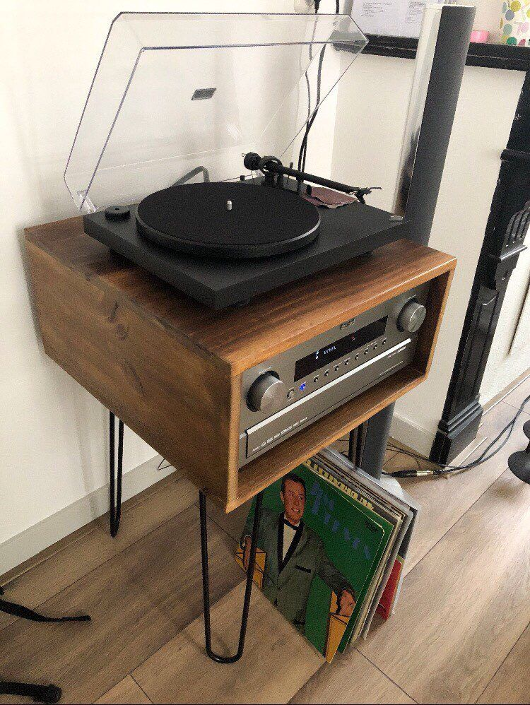 Handmade Record player stand Mid Century modern Turntable Console Hairpin Side Table Vinyl