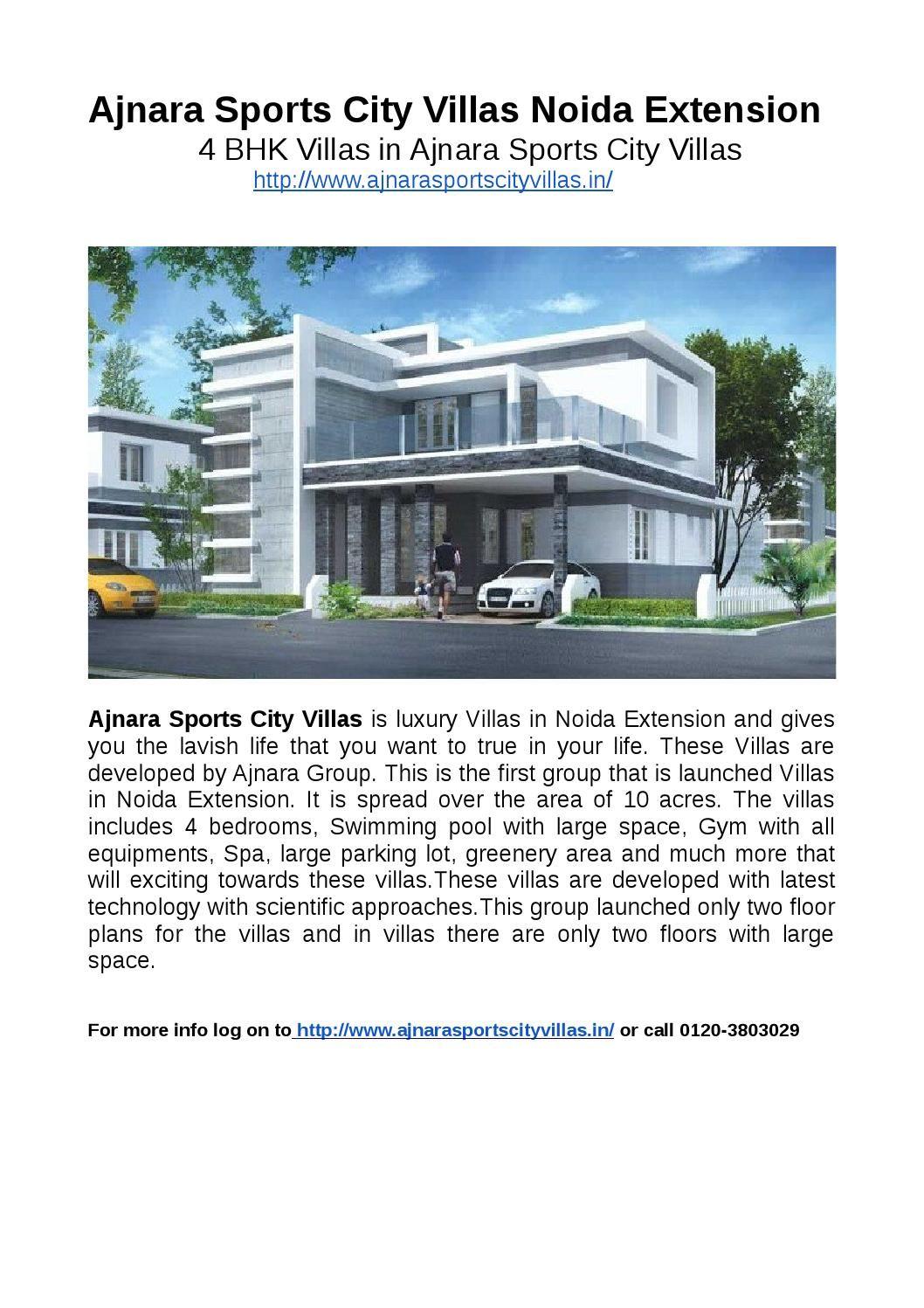 4 Bhk Villas In Ajnara Sports City Villas Villa City Luxury Villa
