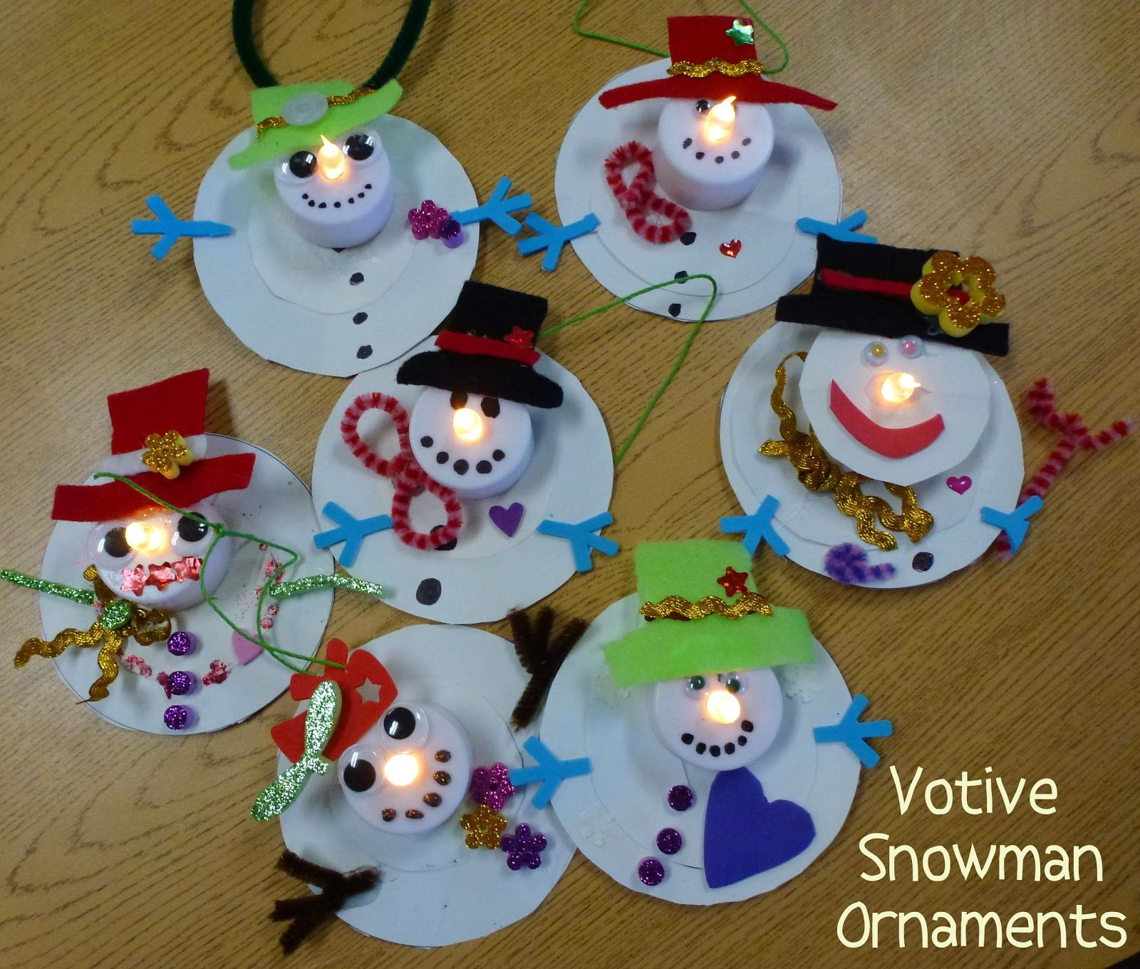winterdeko basteln | Choices for Children: Votive Snowman Ornaments #snowmancrafts