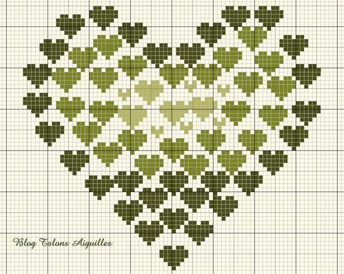 En prévision de la Saint Valentin, une grille exceptionnellement en milieu de semaine pour étoffer votre choix... pour celles, biensûr, qui brodent pour leur motié !!! J'ai utilisé du vert mais n'importe quelle coloris de votre choix conviendra aussi,...