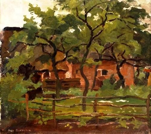 Piet Mondrian - Farm building in Het Gooi. Oil on canvas, 38.2 x 43.4cm. Private Collection