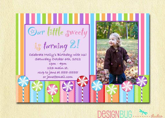 Lolli Pop Invitations Laura Jayson Nolen Girls Lollipop Birthday Party
