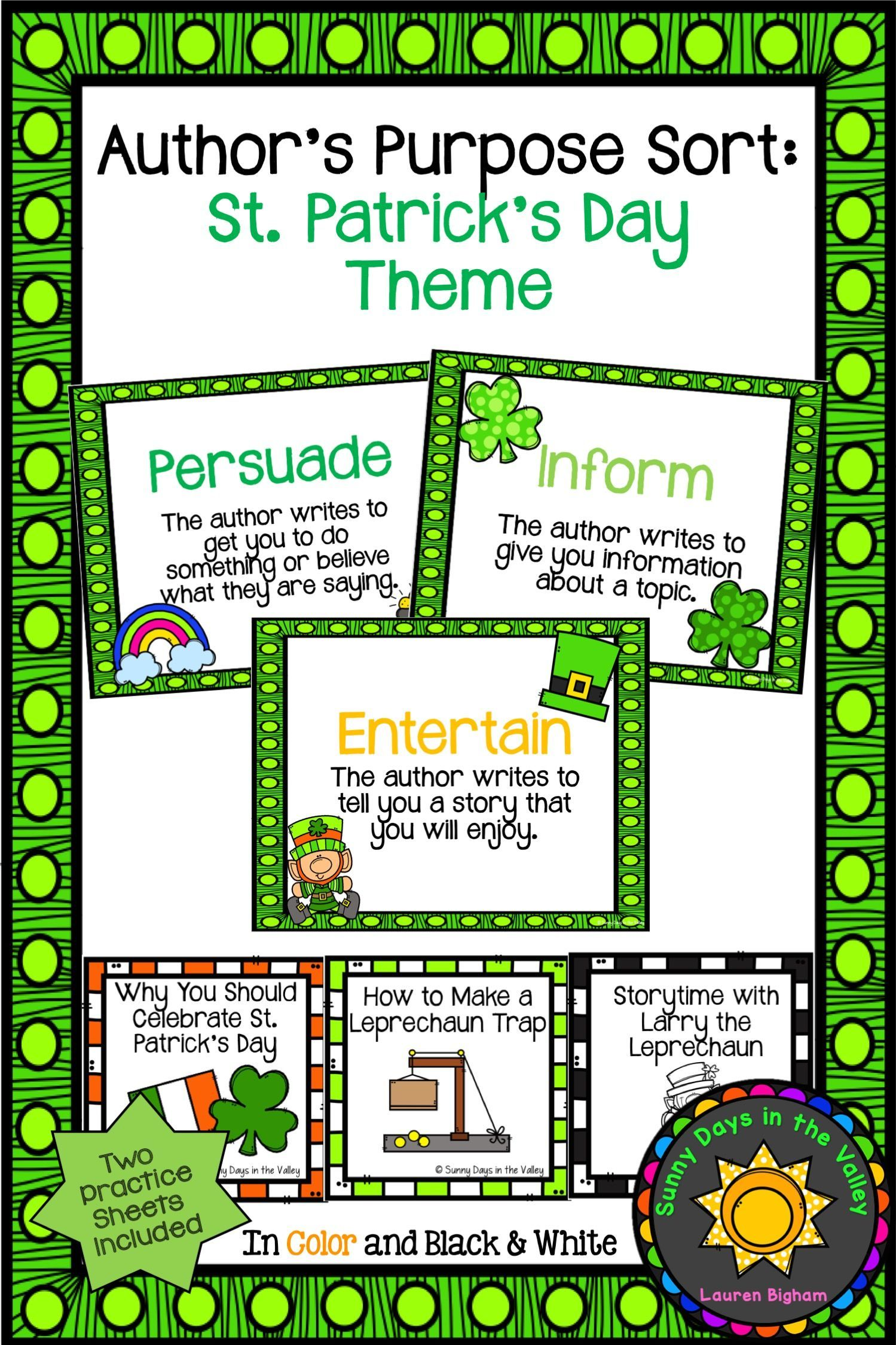 Author S Purpose Sorting St Patrick S Day Theme In