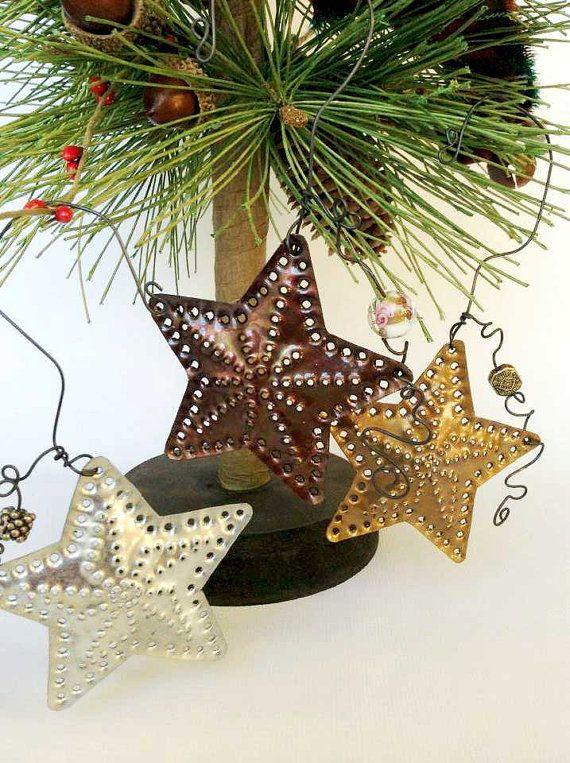 Star Light Star Bright Tin Punch Ornaments In Copper Brass - Diy copper stars for christmas decor