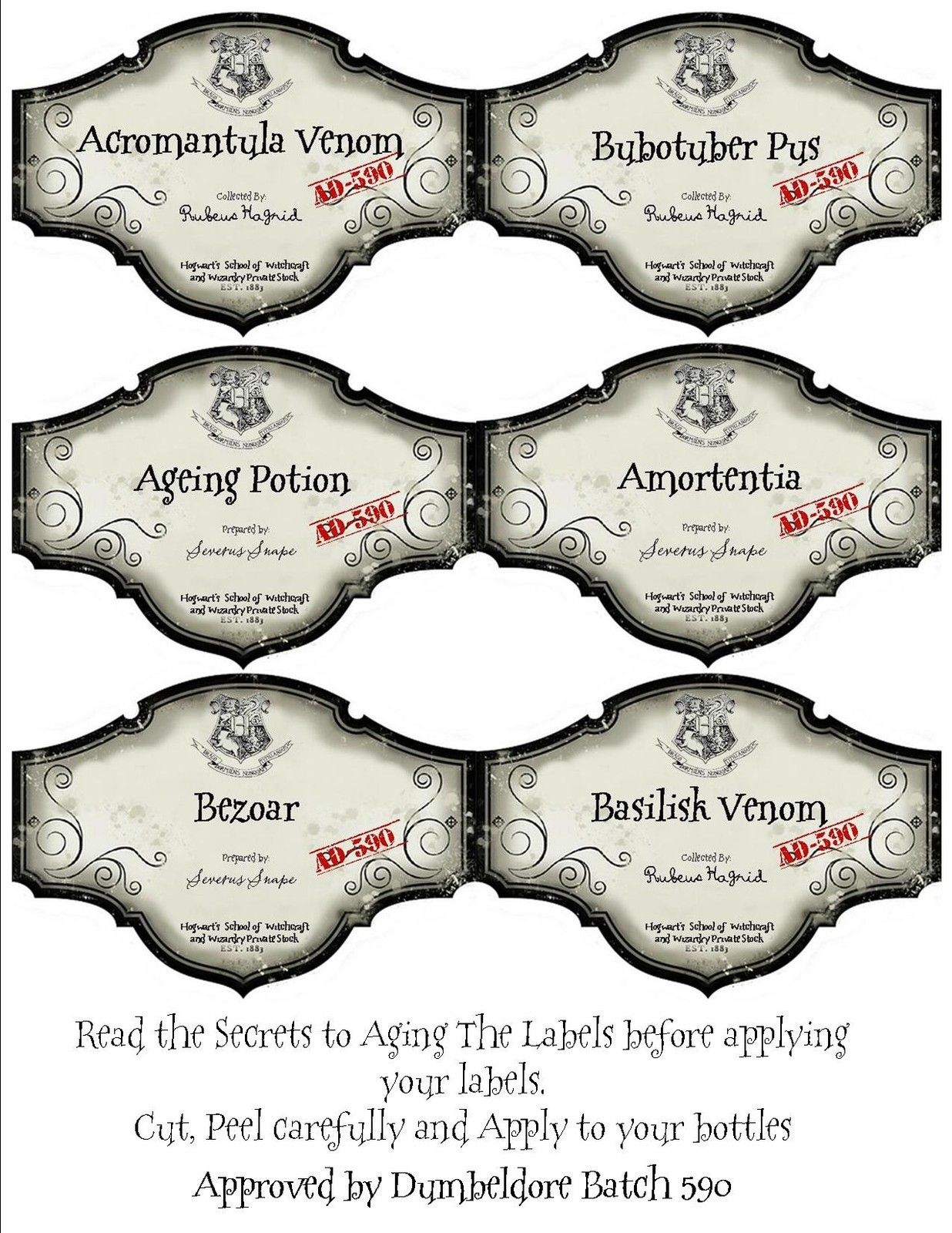 harry potter labels | AzkAbaN | Pinterest | Harry potter ...