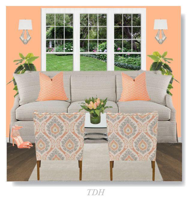 Grey & Peach Living Room   Peach living rooms, Home decor ...