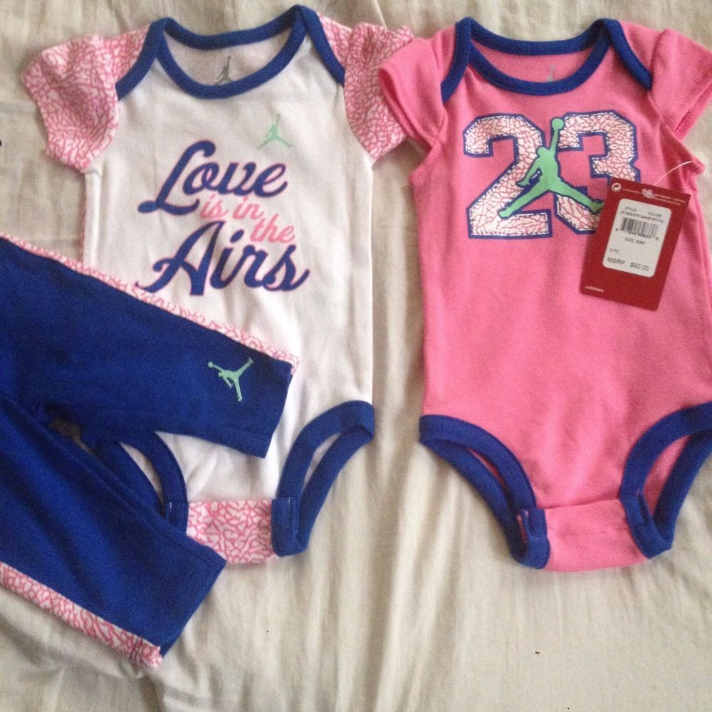 dff461606de NIKE Air Jordan Baby 3piece set Girl bodysuit pants outfit Set 6/9 MONTHS # Jordan $0.99 Free shipping