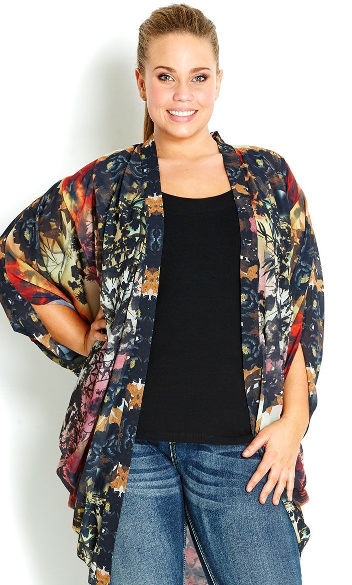 City Chic - GARDEN KIMONO JACKET - Women's plus size fashion | Not ...