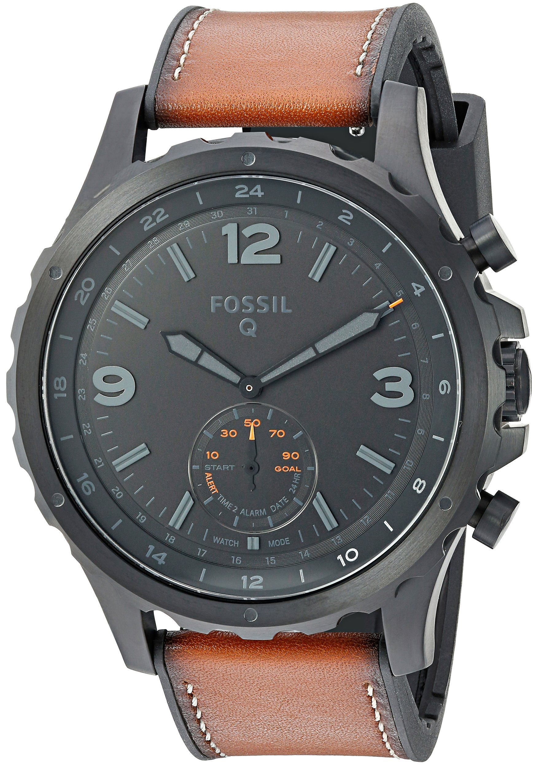 Fossil Hybrid Smartwatch Q Nate Dark Brown Leather ** More