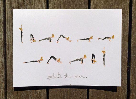 Salute The Sun Blank Yoga Pose Greeting Card Yoga Card Sun