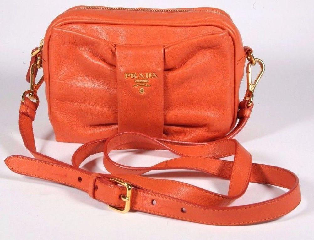 3dff77a73603 Authentic PRADA Orange/Papaya Tessuto Nylon Bow Crossbody Bag - Purse - # PRADA #Crossbody
