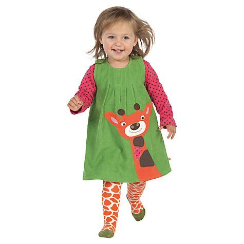 Frugi Baby Alice Corduroy Giraffe Dress Green Green Organic