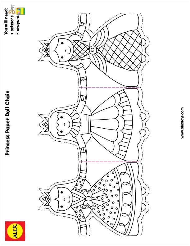 Cadena de Princesitas para recortar y colorear | Hojas para colorear ...