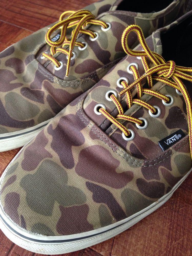 c1a95510760a Vans Authentic Waxed Canvas Camo Marsh Shoes Size 13  VANS  Skateboarding