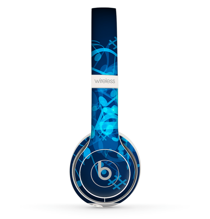 The Glowing Blue Music Notes Skin Set for the Beats by Dre Solo 2 Wireless Headphones