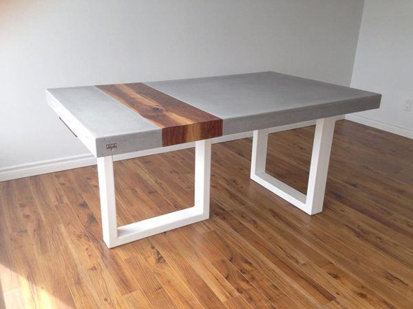 Terrific Smooth Gray Concrete Table With Wood Plank Inlay Concrete Spiritservingveterans Wood Chair Design Ideas Spiritservingveteransorg