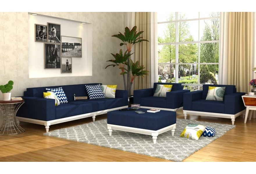 Buy Ayres Fabric Sofa Set 3 1 1 Indigo Ink Online In India In 2020 Sofa Set Online Sofa Set Best Sofa