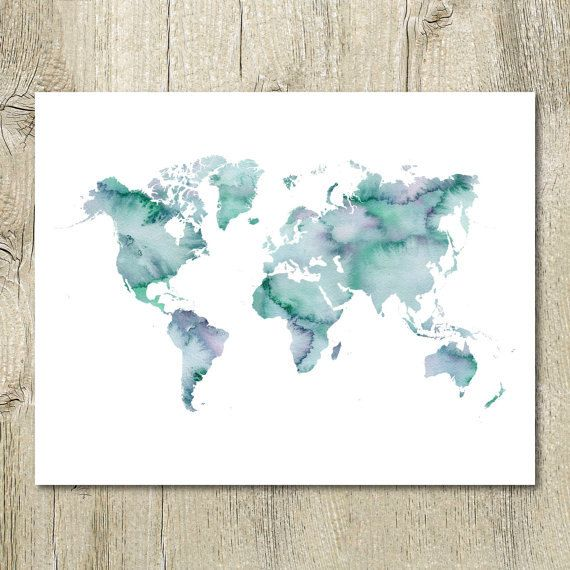 Printable watercolor world map decor in blue turquoise instant printable watercolor world map decor in blue turquoise instant digital download item details high resolution 300 dpi jpeg pdf available gumiabroncs Image collections