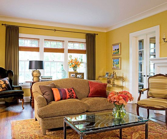 Erscotch Chocolate Raspberry This Inviting Living Room Is As Luscious A Warm Rich Dessert Large Blocks Of Solid Color Golden Walls Brown