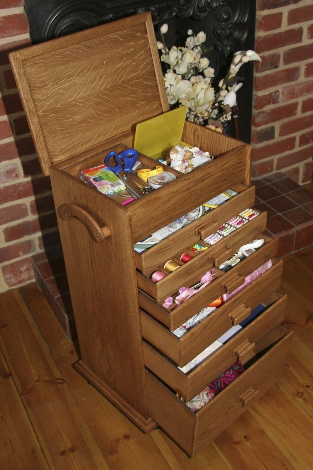 Wooden Sewing Box : wooden, sewing, Large, Handmade, Wooden, Sewing, Workbox, Inspiration